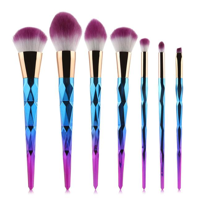 Unicorn Shining Makeup Brushes (7 or 10 Piece Set)-Variant:Rainbow - 7 Pieces-Bubble vs Gum