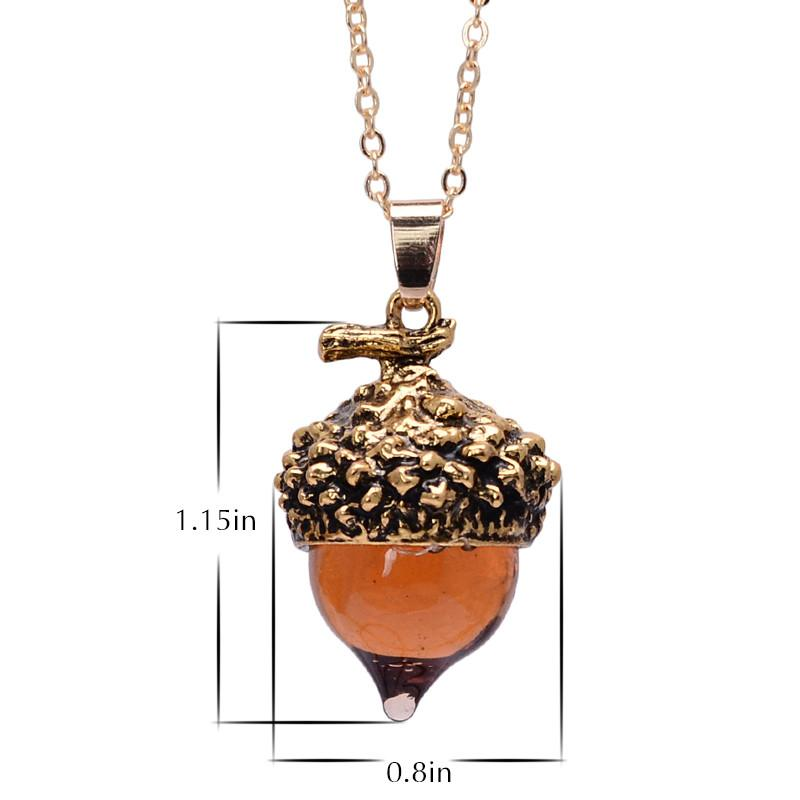 Antique Colored Liquid Acorn Necklace - Bubble vs. Gum