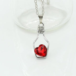 """Give Me A Bottle of Love"" Crystal Pendant Necklace - Bubble vs. Gum"