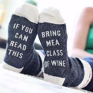 """If You Can Read This, Bring Me a Glass of Wine"" Socks - Bubble vs. Gum"
