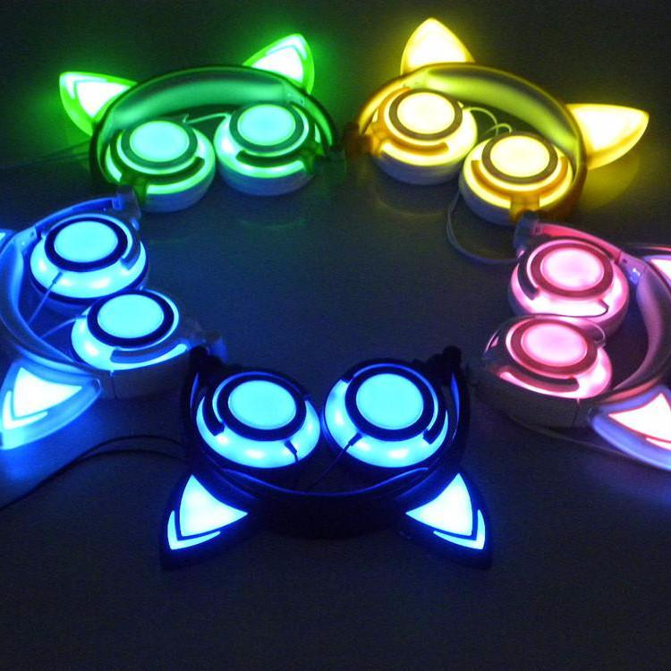 NEW MODEL - Rechargeable Glowing LED Cat Ear Headphone-Bubble vs Gum