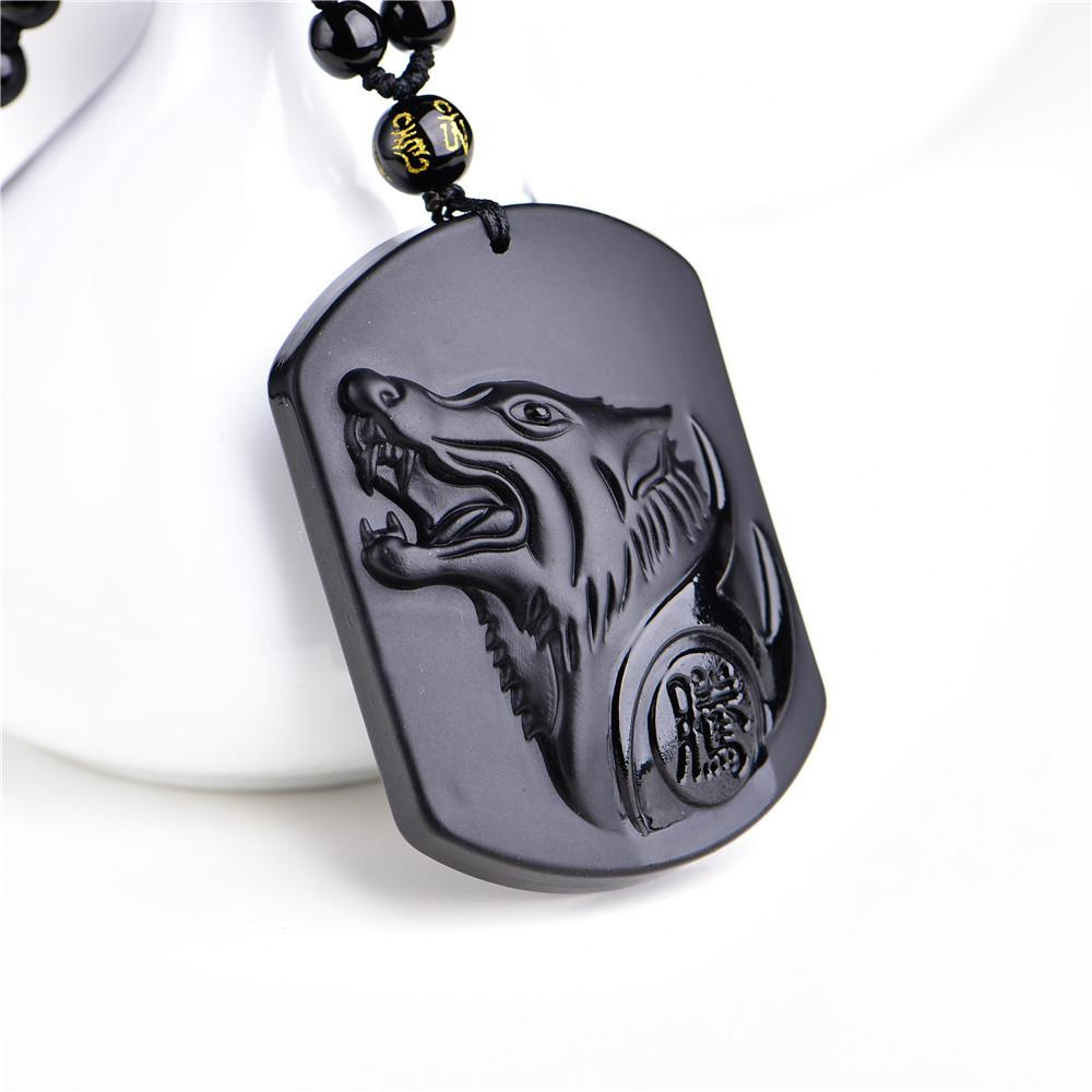 Natural Black Obsidian Carving Wolf Head Necklace-Bubble vs Gum