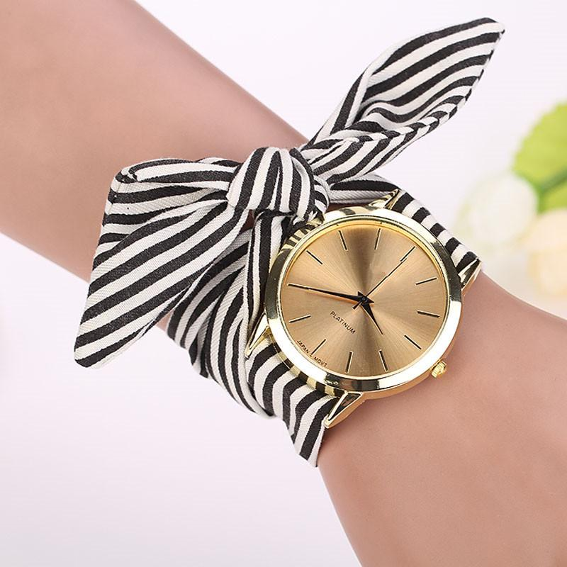 Stripe Cloth Band Wrist Watch (3 Colors)-Bubble vs Gum