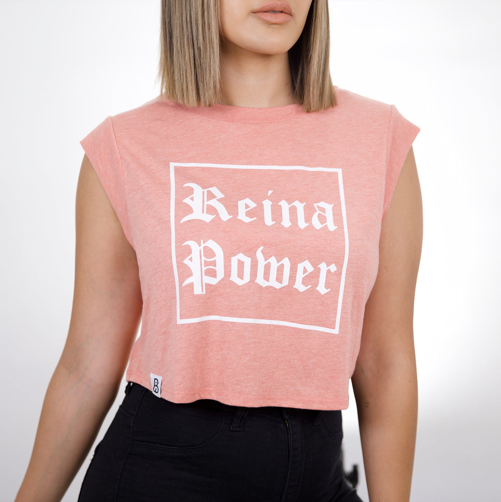 'Reina Power' Peach Cropped Tank