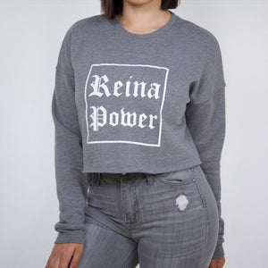 'Reina Power' Crop Sweatshirt Grey