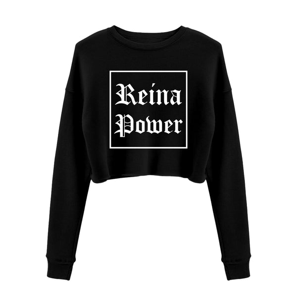 'Reina Power' Crop Sweatshirt Black