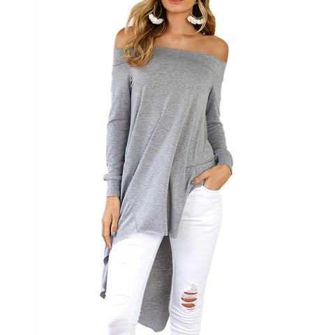 Sexy Off The Shoulder Tops For Women 2017 Autumn New Elegant Long Sleeve Cotton Tee Shirts Femme Casual T Shirts Solid Color