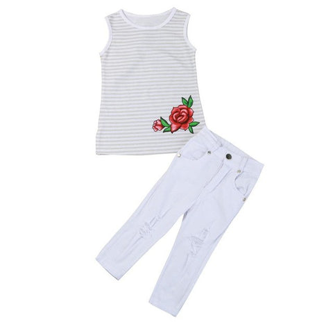 Girls Clothing Sets 2017 Designer Toddler Kids Baby Girl Rose Flower Striped T Shirt Tops Pants Outfit Clothes Set Kids Clothes