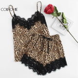 COLROVIE Eyelash Lace Insert Leopard Cami Top & Shorts PJ Set Women V-neck Sleeveless Pajamas 2018 Spring Sexy Nightwear