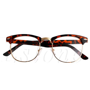 1PC Fashion Metal Half Frame Glasses Frame Retro Woman Men Reading Glass  Clear Lens Computer Eyeglass Frame