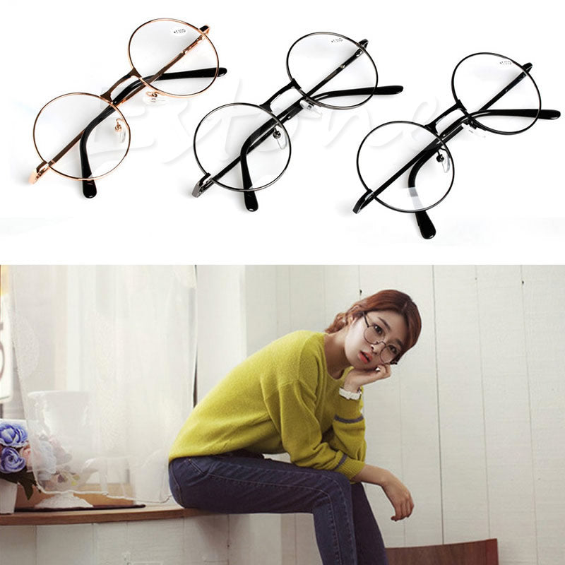 Retro Unisex Round Presbyopic Reading Glasses Metal Frame Personality Eyeglass
