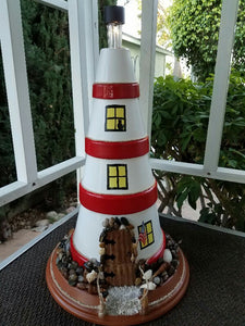 Painted Terra Cotta Pot - Lighthouse