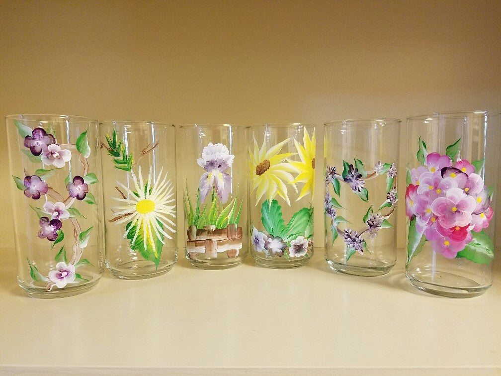 Painted Glass - set of 6