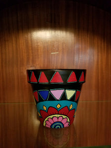 Painted Terra Cotta Pot - Black