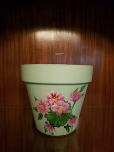 Painted Terra Cotta Pot - mint green