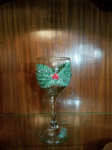Holiday Holly Wine Glass