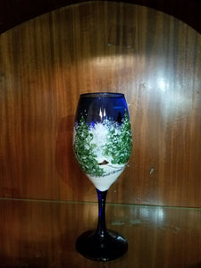 Holiday Wine Glass in Blue