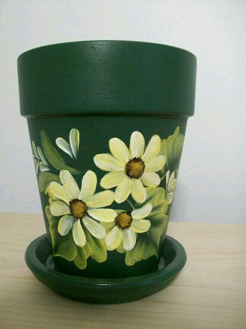 Painted Terra Cotta Pot - Green