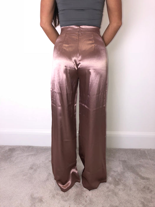 Mocha Satin High Waisted Flared Trousers
