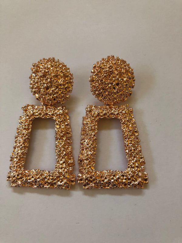 Champagne Textured Statement Earrings