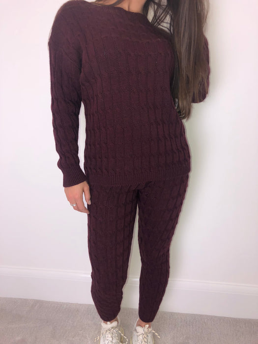 Burgundy Knit Loungewear Set