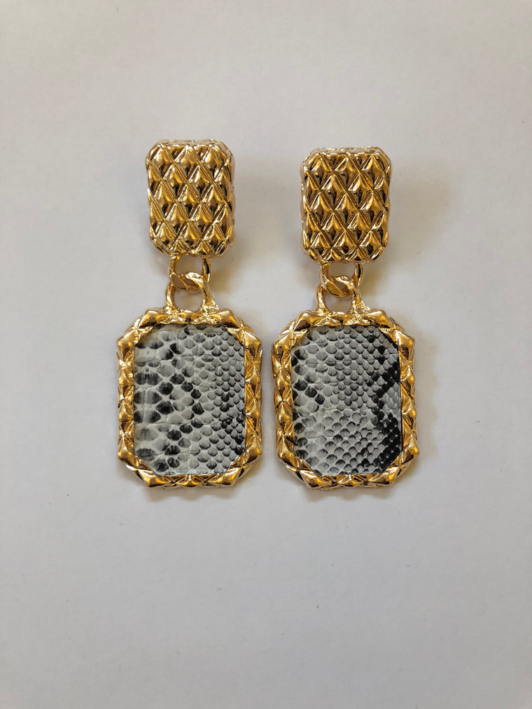 Grey Snakeskin Print Earrings