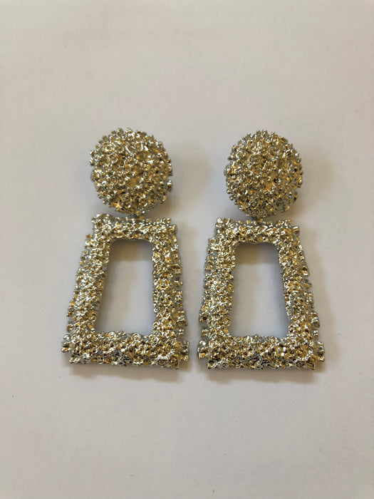 Silver Textured Statement Earrings
