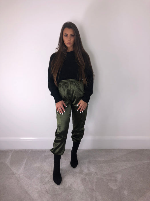 Khaki Satin Cargo Pants