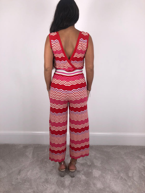 Red Zig Zag Jumpsuit