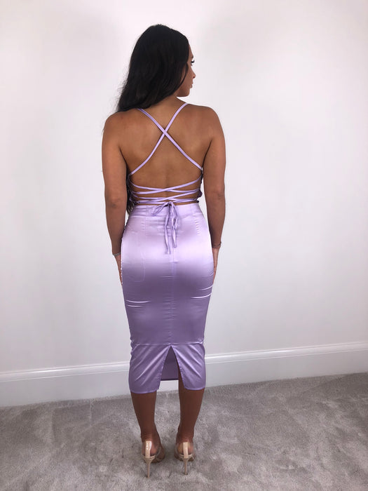 Lilac Cowl Neck Satin Midi Dress