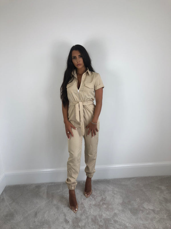 Beige Belted Utility Jumpsuit