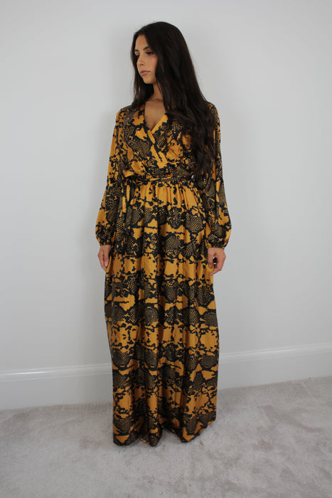 Patterned Silky Maxi Dress