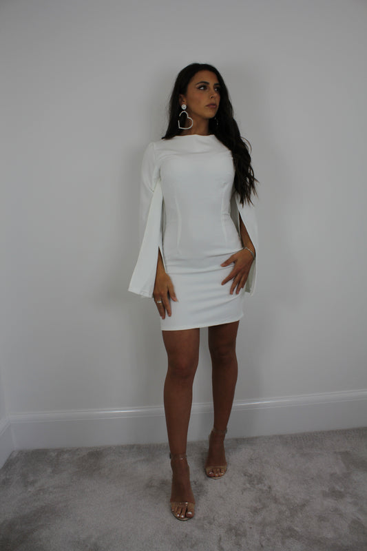 White Split Sleeve Dress