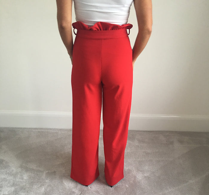 Red High Waisted Tie Pants