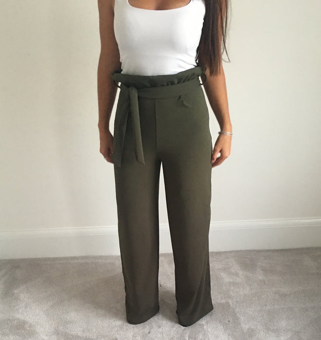 Green High Waisted Tie Pants