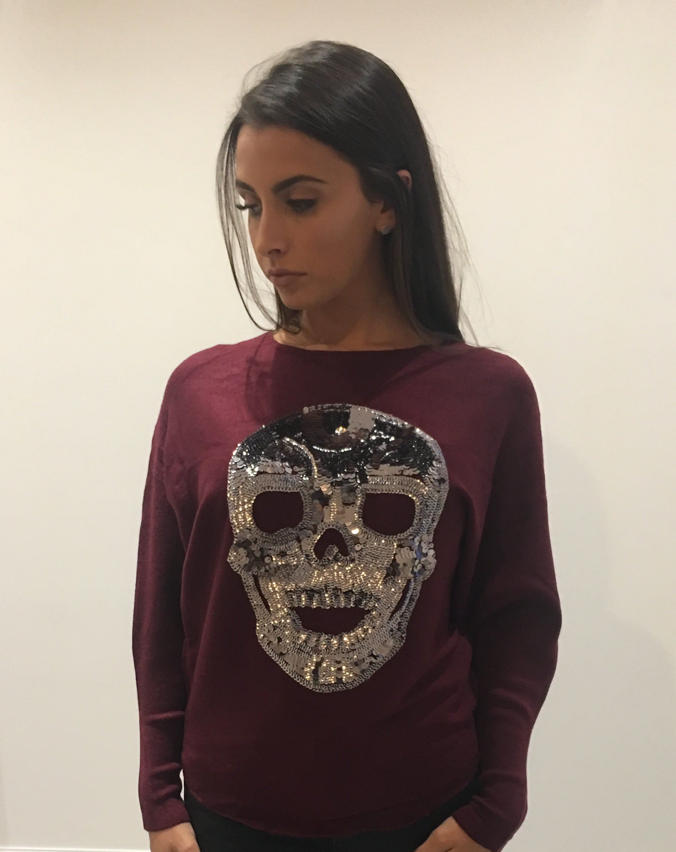 Burgundy Sequin Skull Jumper