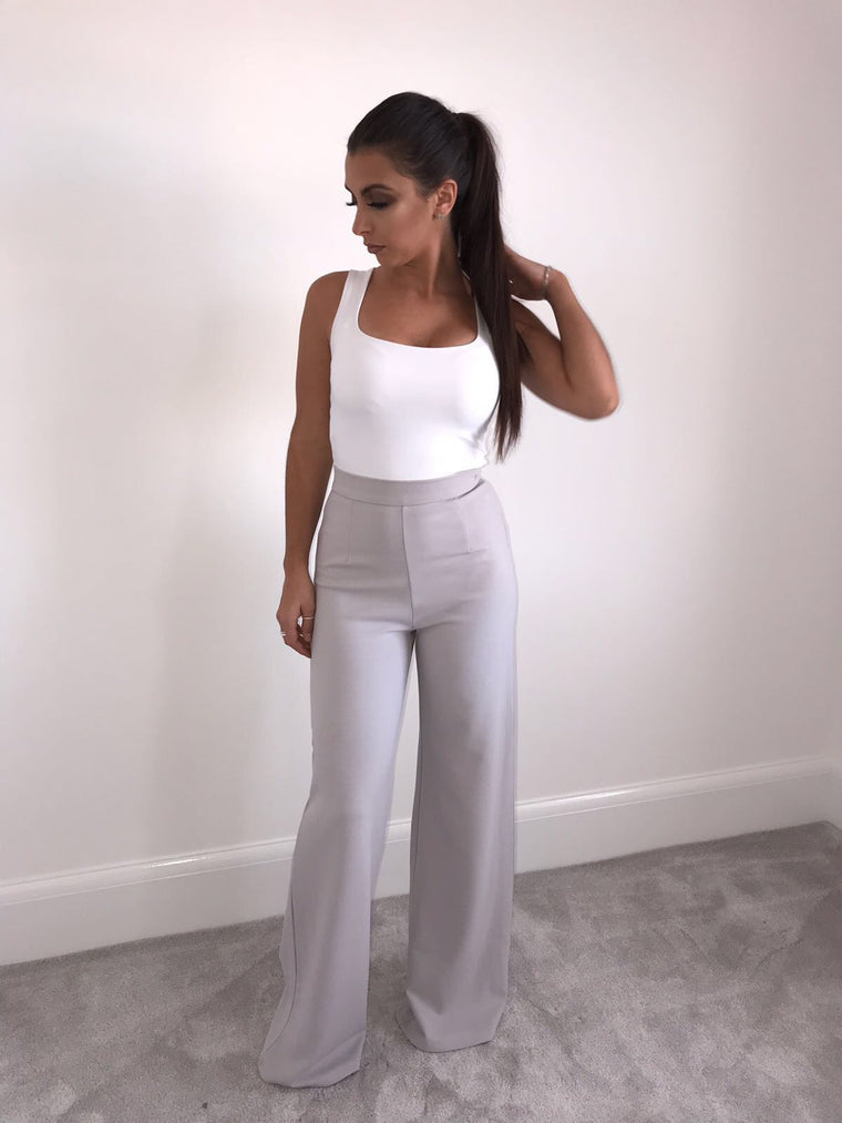 Grey High Waisted Flared Trousers
