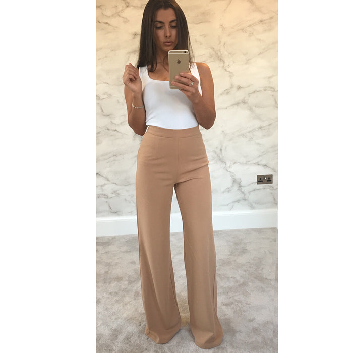 Nude High Waisted Flared Trousers