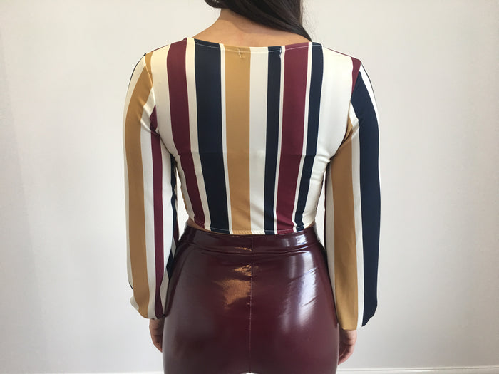 Striped Tie Front Long Sleeved Top