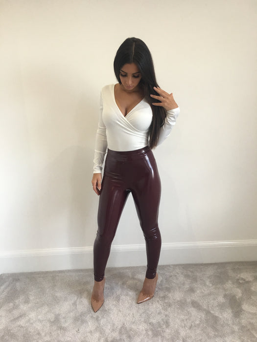 Wine Vinyl Leggings