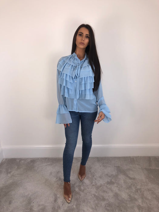 Blue Ruffle Blouse