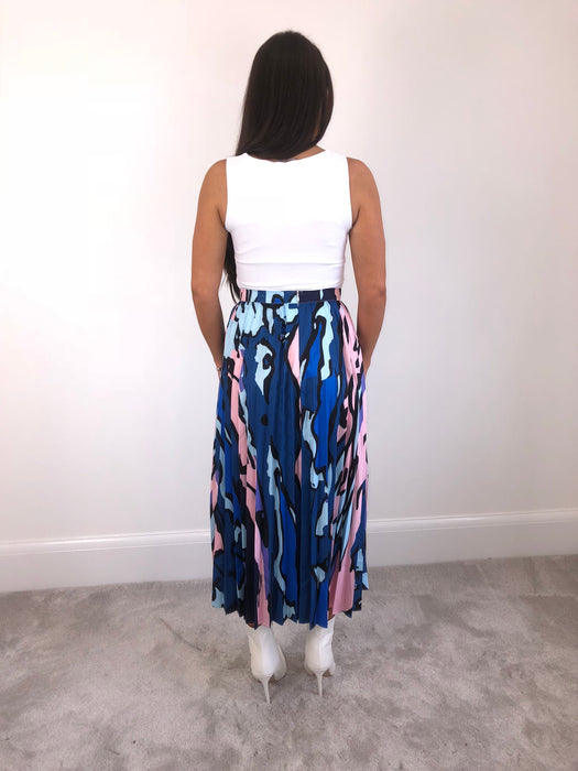 Blue & Pink Pleated Skirt