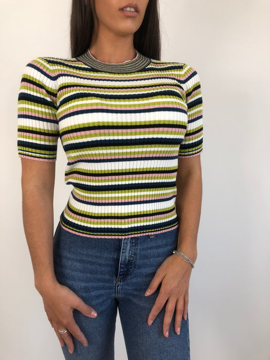 Ribbed Soft Knit Striped Top