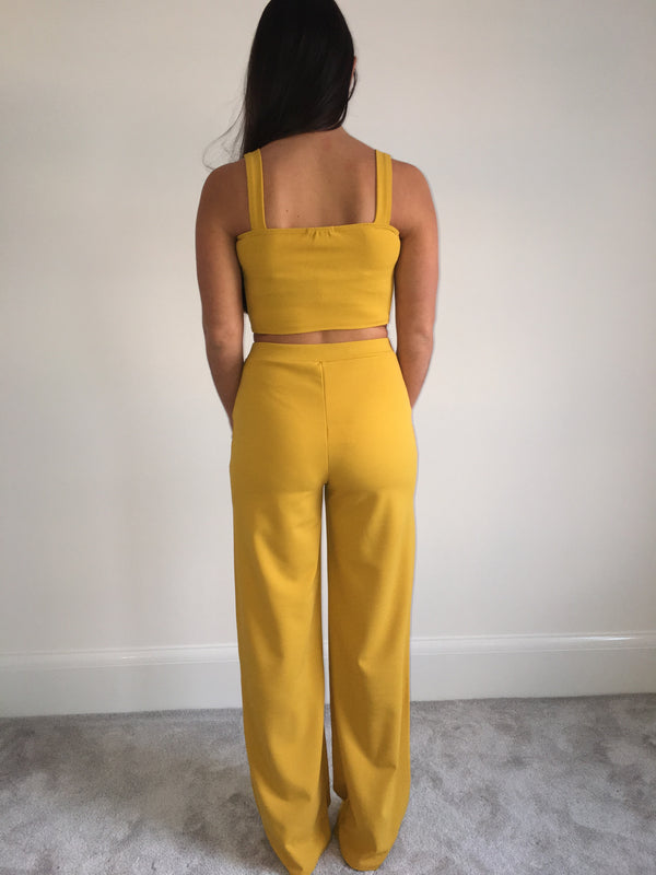 Mustard Crop Top and Trouser Co-Ord