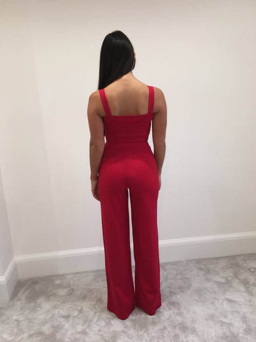 Red Crop Top and Trouser Co-Ord