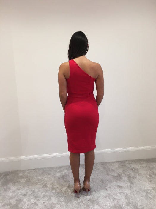 Red One Shoulder Split Dress