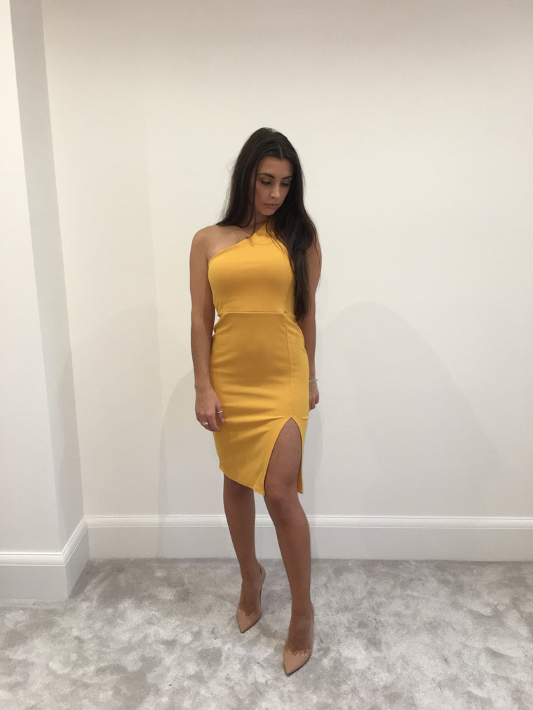 Mustard One Shoulder Split Dress