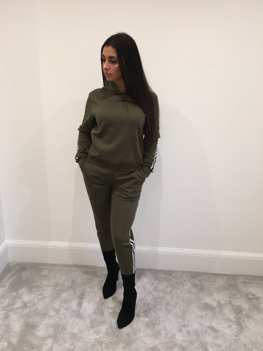 Side Stripe Khaki Loungewear Set