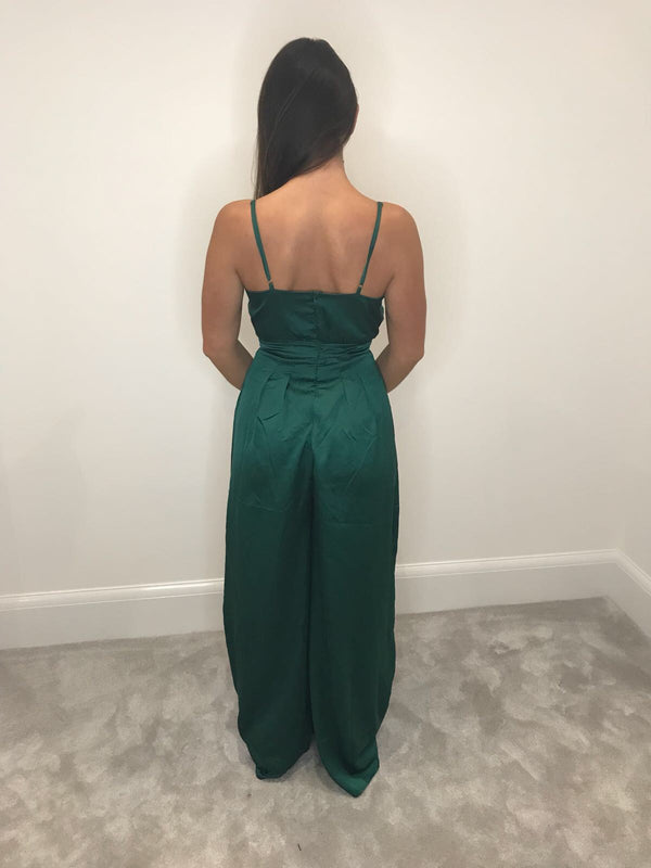 Green Silk Wide Leg Jumpsuit