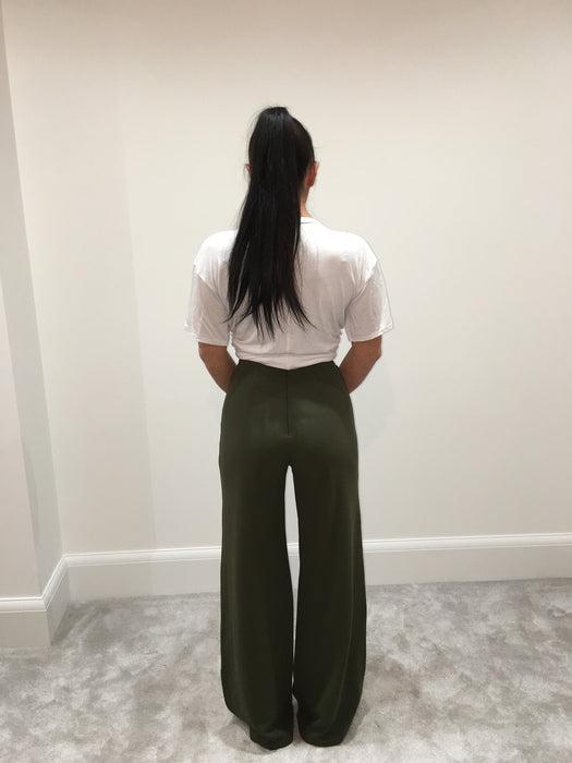 Khaki High Waisted Flared Trousers
